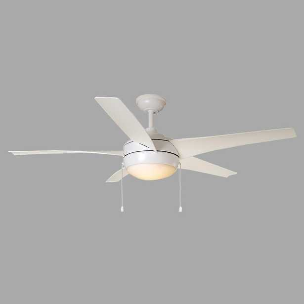Windward IV 52 in. Integrated LED Indoor/Outdoor Matte White Ceiling Fan with Light Kit - Home Depot