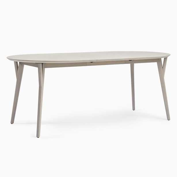 """Mid-Century Dining Table, 60"""" - 80"""" Round Oval Expandable_ pebble - West Elm"""