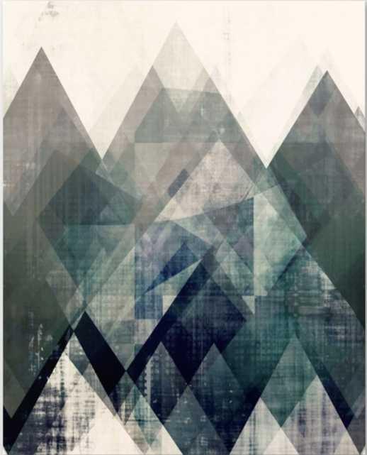 Mountains print, Abstract print, geometric wall art, abstract mountain, minimalist art, modern art, Canvas Print - Society6