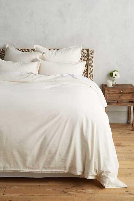 Relaxed Cotton-Linen Duvet Cover - CREAM - QUEEN - Anthropologie