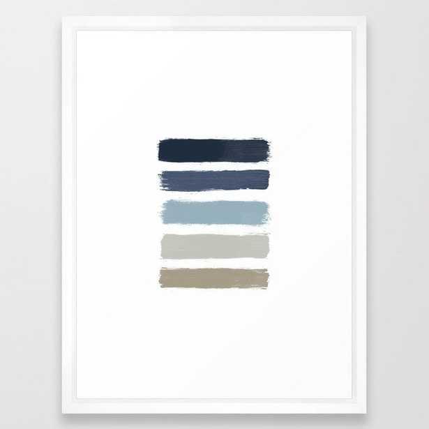 Blue & Taupe Stripes Framed Art Print - Society6