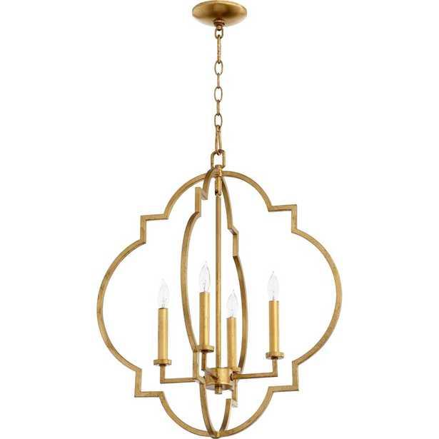 Dooley 4-Light Lantern Geometric Pendant, Gold Leaf - Wayfair