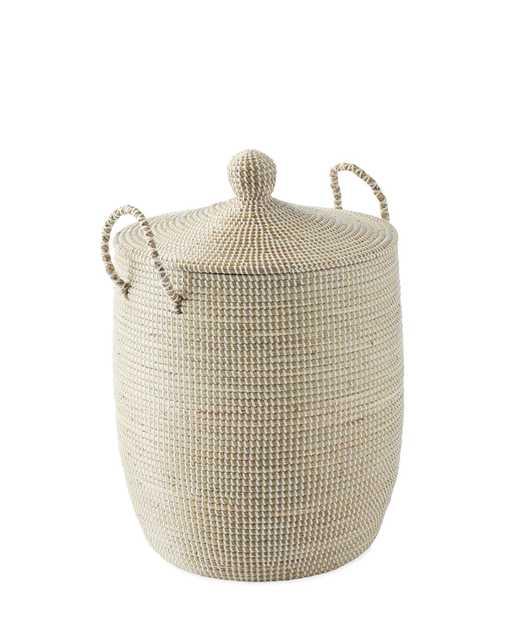 Solid La Jolla Medium Basket - White - Serena and Lily