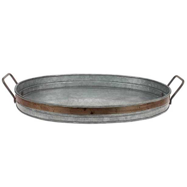 Aged Galvanized with Rust Metal Metal Trim Decorative Tray, Gray - Home Depot