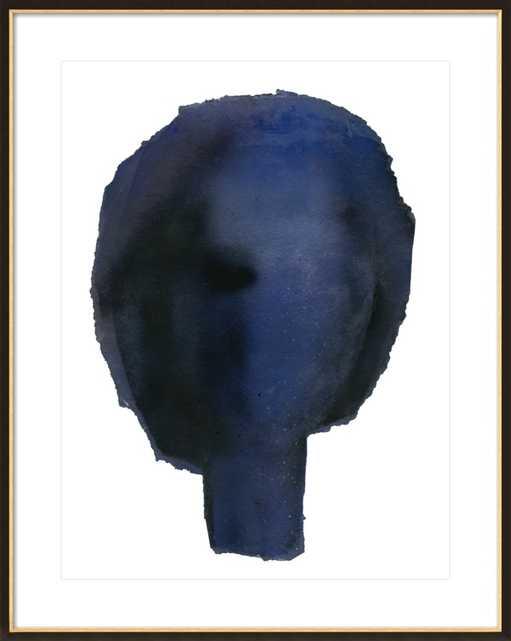 "Blue Head- 28"" x 36"" Ornate - Black with Gold Wood, frame width 0.8"", depth 0.875"" - Artfully Walls"