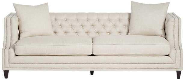 Marilyn White Linen Tufted Sofa - Lamps Plus