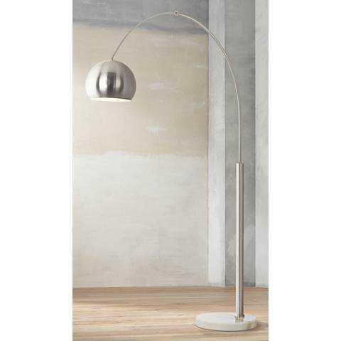 Basque Steel and Brushed Nickel Arc Floor Lamp - Lamps Plus