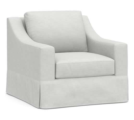 York Slope Slipcovered Swivel Armchair, Down Blend Wrapped Cushions, Performance Slub Cotton White - Pottery Barn