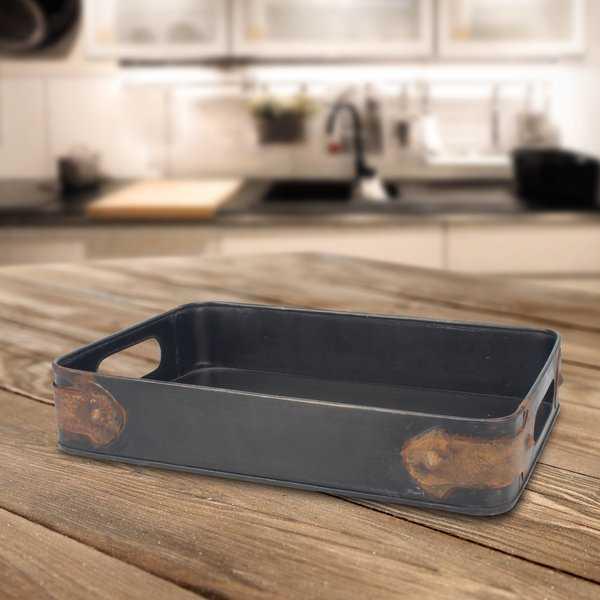 Mclemore Slate Steel Tray with Rust Trin - Wayfair