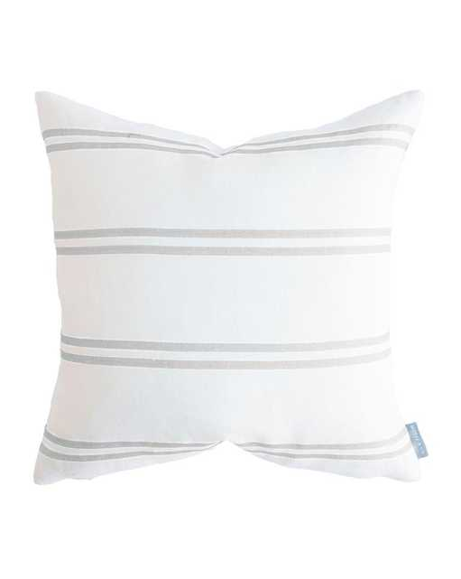 """FRANKLIN GRAY STRIPE PILLOW WITHOUT INSERT, 22"""" x 22"""" - McGee & Co."""