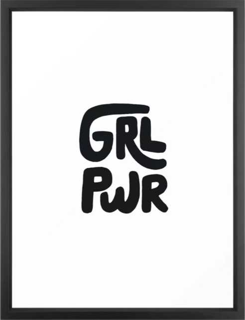 """Grl Pwr black and white Framed Art Print by PHIRST 20"""" x 26"""", vector black - Society6"""