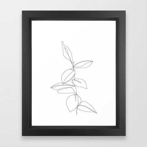 One line minimal plant leaves drawing - Berry Framed Art Print, 10x12 black vector frame - Society6