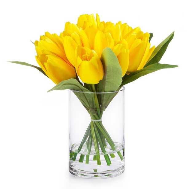 18 Heads Silk Tulips Floral Arrangement in Vase - Wayfair