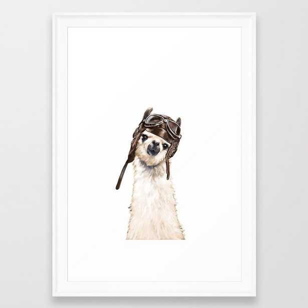 """Pilot Llama Framed Art Print, Scoop White Frame, 15"""" x 21"""" - Society6"""