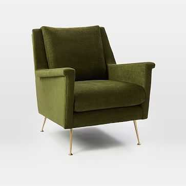 Carlo Mid-Century Chair, Poly, Distressed Velvet, Olive, Brass UPS - West Elm