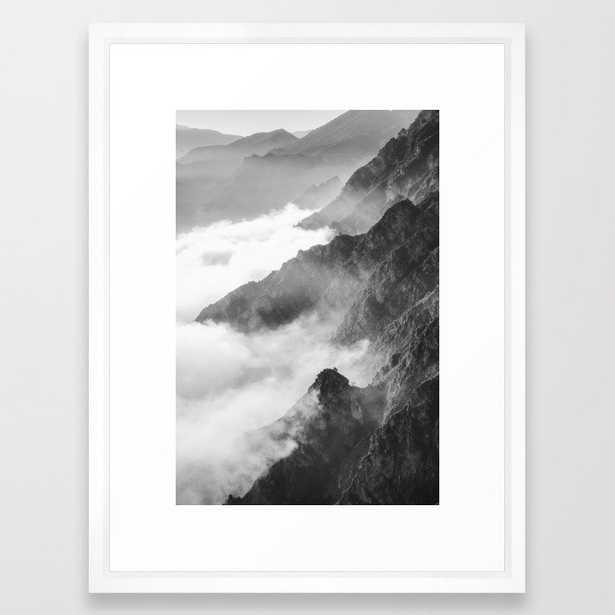 Mountains Framed Art Print vector white - Society6