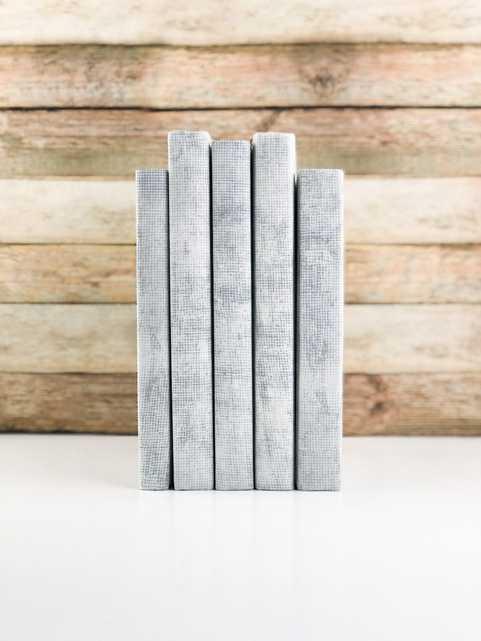 Set of 5 Decorative Books- Textured Light Gray - Havenly Essentials