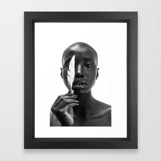 White Feather Framed Art Print, xsmall 10x12, vector black frame - Society6