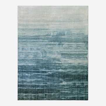 Painted Ombre Rug, Midnight, 9'x12' - West Elm