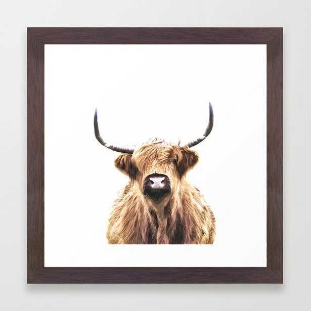 Highland Cow Portrait Framed Art Print by Alemi - Society6
