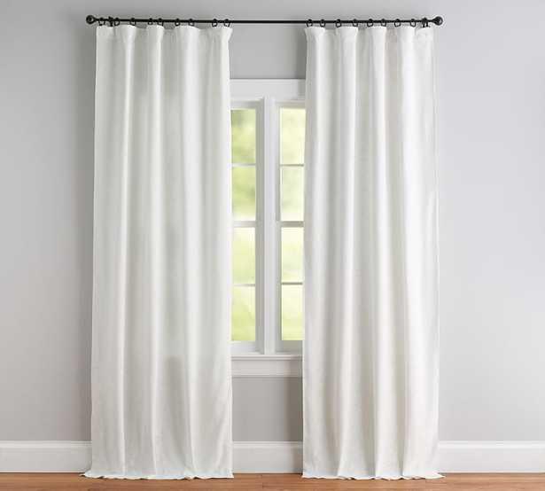 Seaton Textured Cotton Rod Pocket Curtain - White, Blackout Lining - Pottery Barn