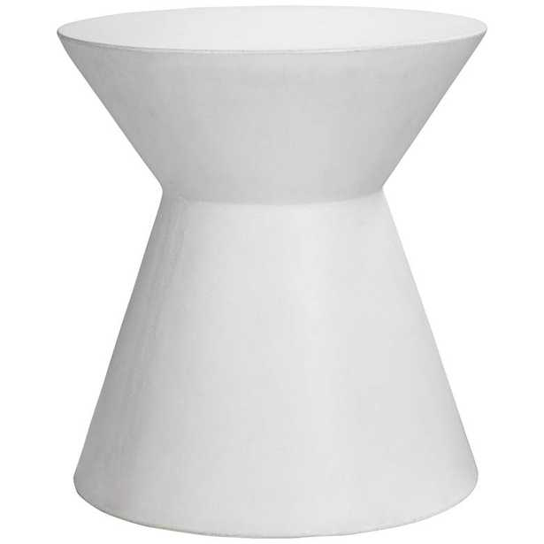 Astley Round White Concrete Indoor-Outdoor End Table - Style # 14F23 - Lamps Plus