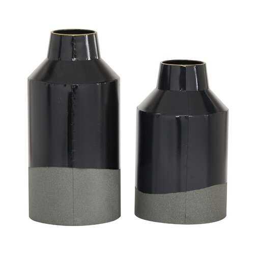 2 Piece Regil Black Metal Table Vase Set - Wayfair