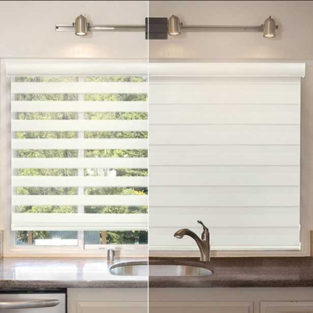 Light Filtering White 72 in. x 72 in. Cordless Sheer Shade - Home Depot