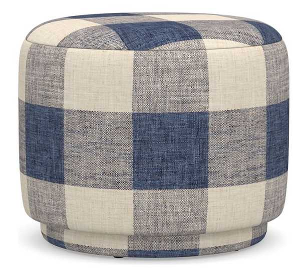 Madeline Upholstered Ottoman, Polyester Wrapped Cushions, Vintage Grainsack Buffalo Blue/Flax - Pottery Barn