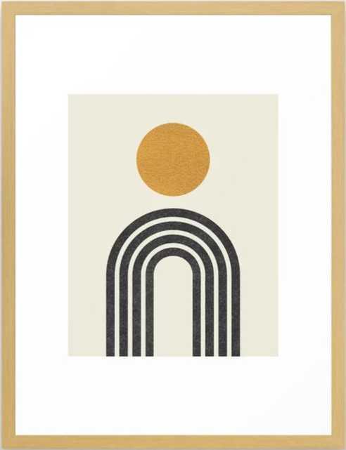 "Mid century modern gold Framed Art Print, 20"" X 26"", Conservation Natural - Society6"