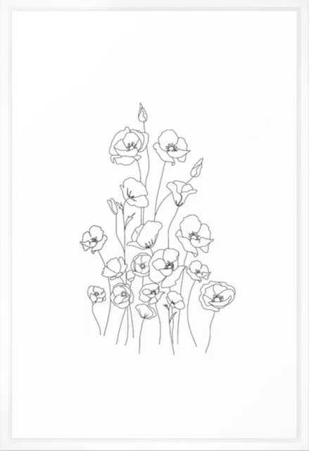 Poppy Flowers Line Art Framed Art Print - Vector White - 26 x 38 - Society6