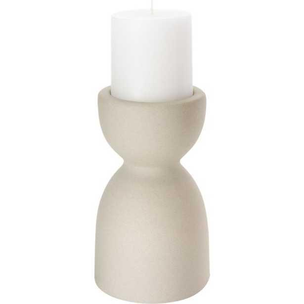 borough small ceramic pillar candle holder - CB2