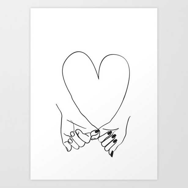 Pinky Promise his and her romantic line art Art Print - Society6