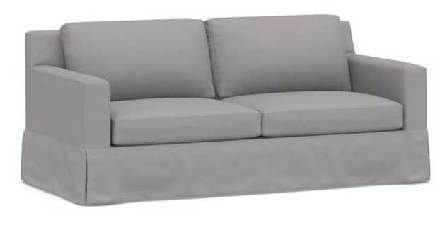 """York Square Arm Slipcovered Sofa 80.5"""", Down Blend Wrapped Cushions, Performance Twill Metal Gray - Pottery Barn"""