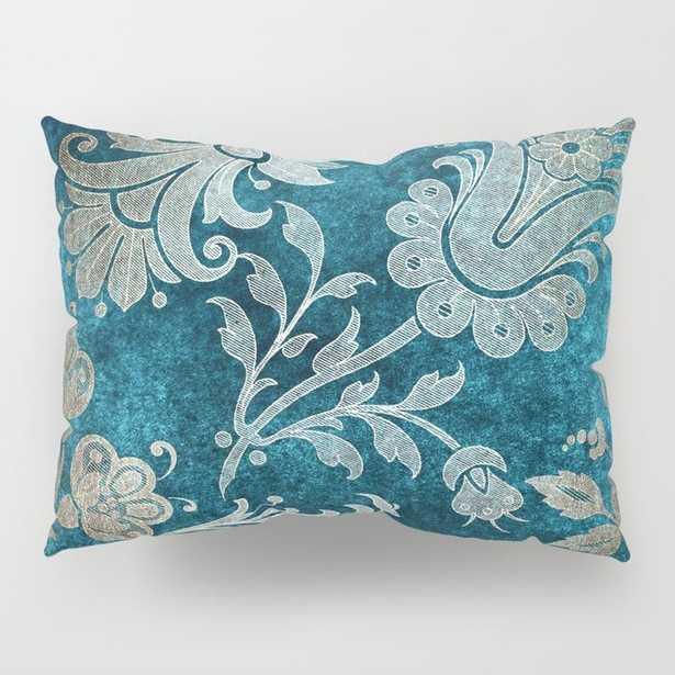 Aqua Teal Vintage Floral Damask Pattern Pillow Sham Set - Society6