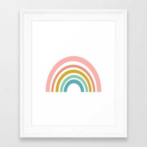 "Simple Happy Rainbow Art Framed Art Print - X-Small - 10"" X 12"" - Scoop White - Society6"