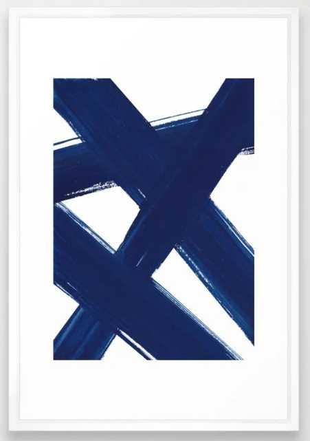 Indigo Abstract Brush Strokes | No. 3 Framed Art Print - Society6