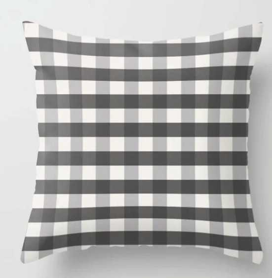 Grey and Pottery White Plaid Gingham Farmhouse Country Canvas digital texture Throw Pillow - Society6