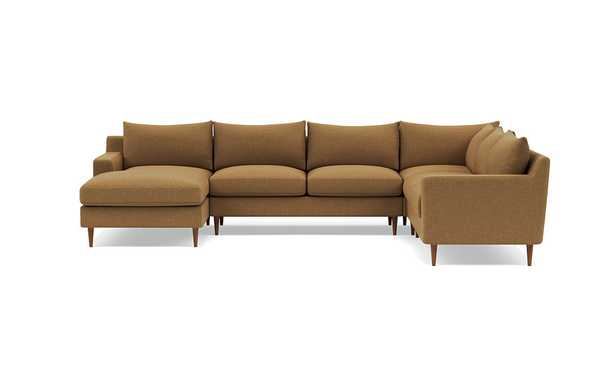 """SLOAN 4-Piece Corner Sectional Sofa with Left Chaise - Honey Weave, Oil Walnut Tapered Round Wood Legs, 122"""" x 93"""", Down Alternative Fill - Interior Define"""