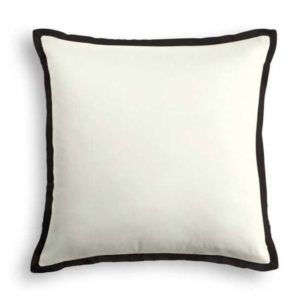 """18""""Sq Outdoor Pillow Sunbrella® Canvas - White/ Trim Flange Sunbrella® Canvas - Black  - 18"""" Square - Loom Decor"""