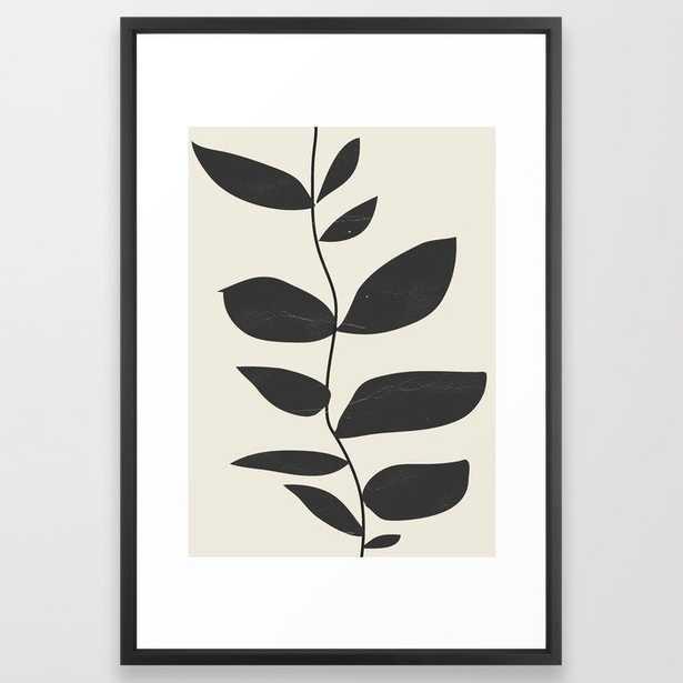 minimal plant Framed Art Print // 26x38 // Vector Black frame - Society6