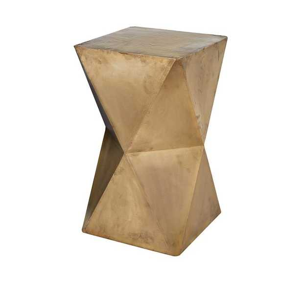 Faceted Stool with Brass Cladding - Gold - Rosen Studio
