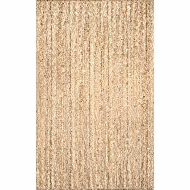 Striped Hand-Woven Jute Tan Area Rug 10x14 - Wayfair