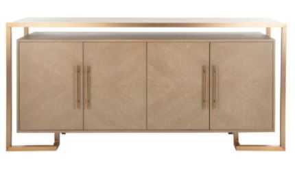 Claire 4 Door Buffet - Weathered Oak/Brass - Arlo Home - Arlo Home
