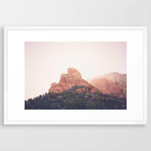 """Sunrise in Sedona Framed Art Print - 26x38"""" vector white frame - Society6"""