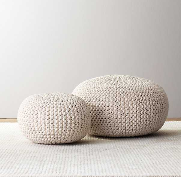 Knit cotton round pouf, Natural - Large - RH Baby & Child