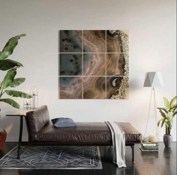 Multi-colored Agate slice Wood Wall Art - Wander Print Co.