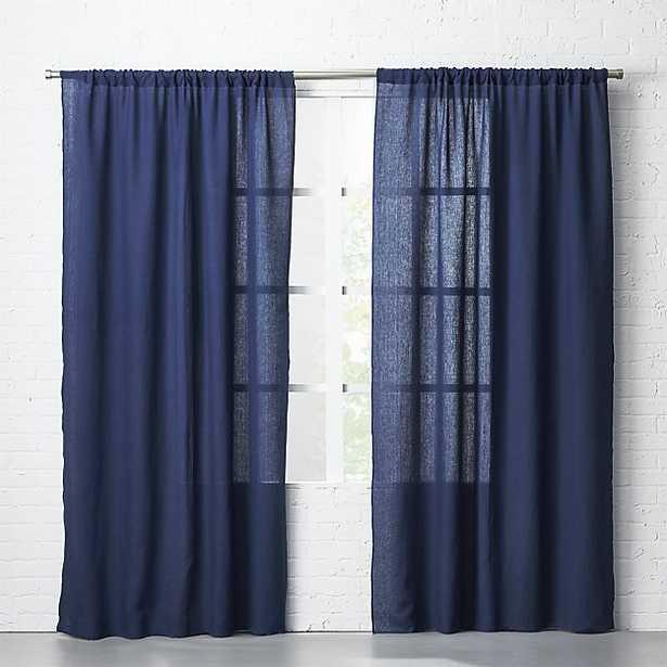"navy linen curtain panel 48""x96"" - CB2"