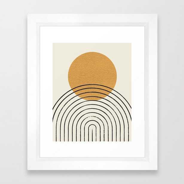 Gold Sun rainbow mid-century full Framed Art Print - Society6