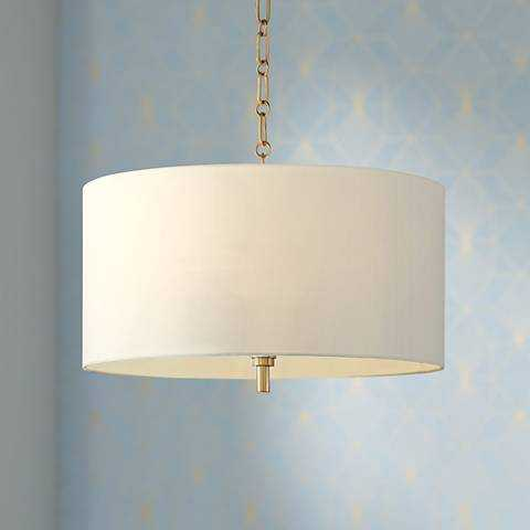 """20"""" Wide Warm Gold Pendant Light with White Shade - Lamps Plus"""